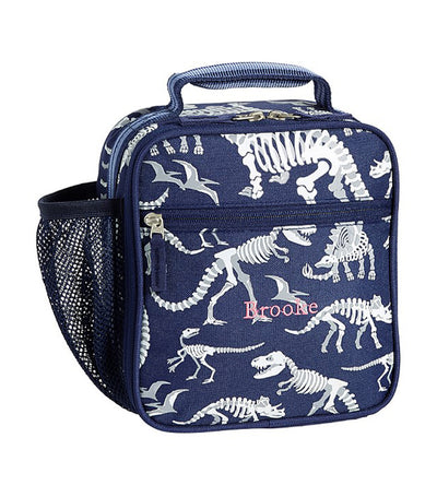 pottery barn kids mackenzie blue dino glow-in-the-dark lunch box - classic
