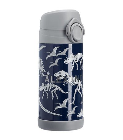 pottery barn kids mackenzie blue/gray glow-in-the-dark dinos regular water bottle