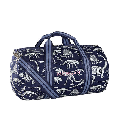 pottery barn kids mackenzie blue/gray glow-in-the-dark dinos small gym bag