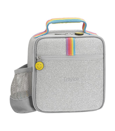 pottery barn kids flour shop silver glitter lunch box