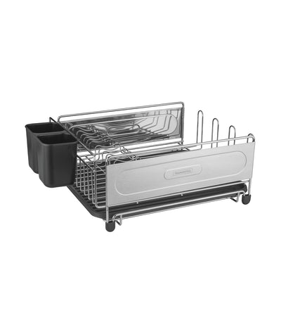 Tramontina Plurale Dish Rack with Cutlery Holder - Black/Chrome
