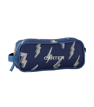 pottery barn kids mackenzie navy lightning bolt glow-in-the-dark pencil case