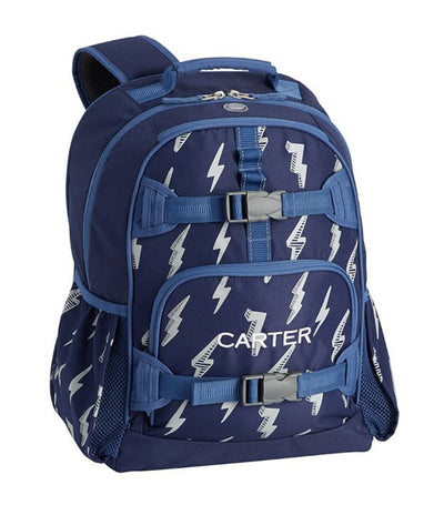 pottery barn kids mackenzie navy lightning bolt glow-in-the-dark backpack