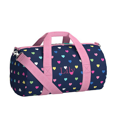 pottery barn kids mackenzie navy multi hearts small gym bag