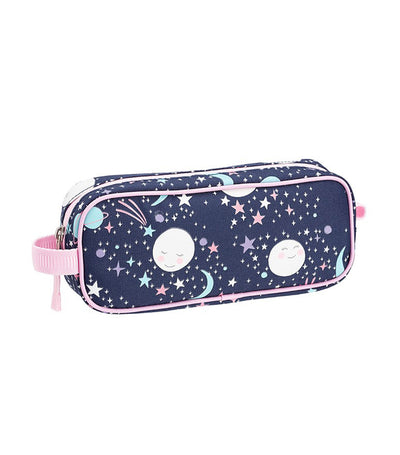 pottery barn kids mackenzie pink navy glow-in-the-dark moons pencil case
