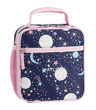 pottery barn kids mackenzie pink navy glow-in-the-dark moons lunch box - classic