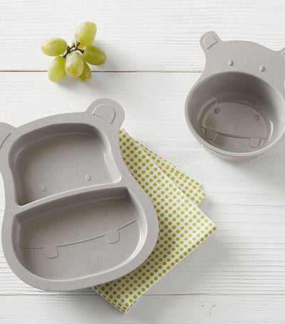 pottery barn kids hippo shaped astrik feeding set