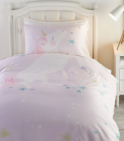 pottery barn kids organic picture perfect unicorn twin duvet cover & sham set