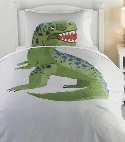pottery barn kids organic picture perfect dino twin duvet cover & sham set