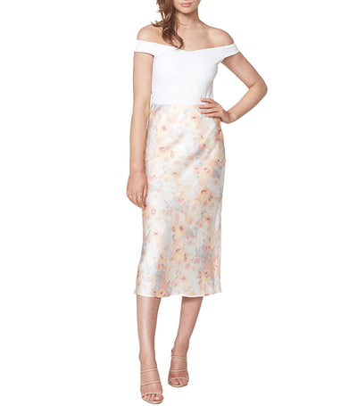 Kendal Bias Skirt Paint Floral