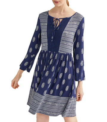 Printed Short Dress Blue