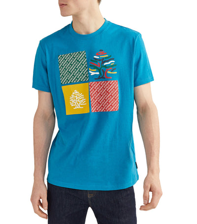 Checked Short-Sleeved Logo T-Shirt Turquoise