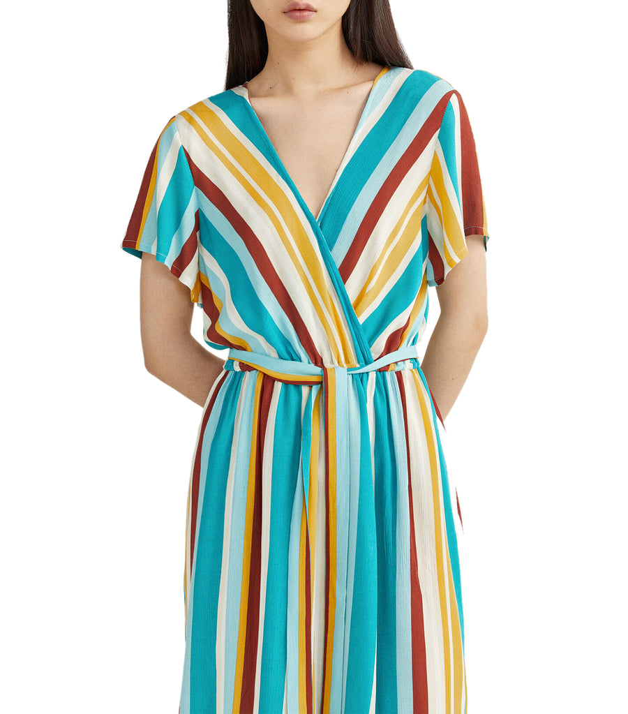 Striped Crossover Dress Green