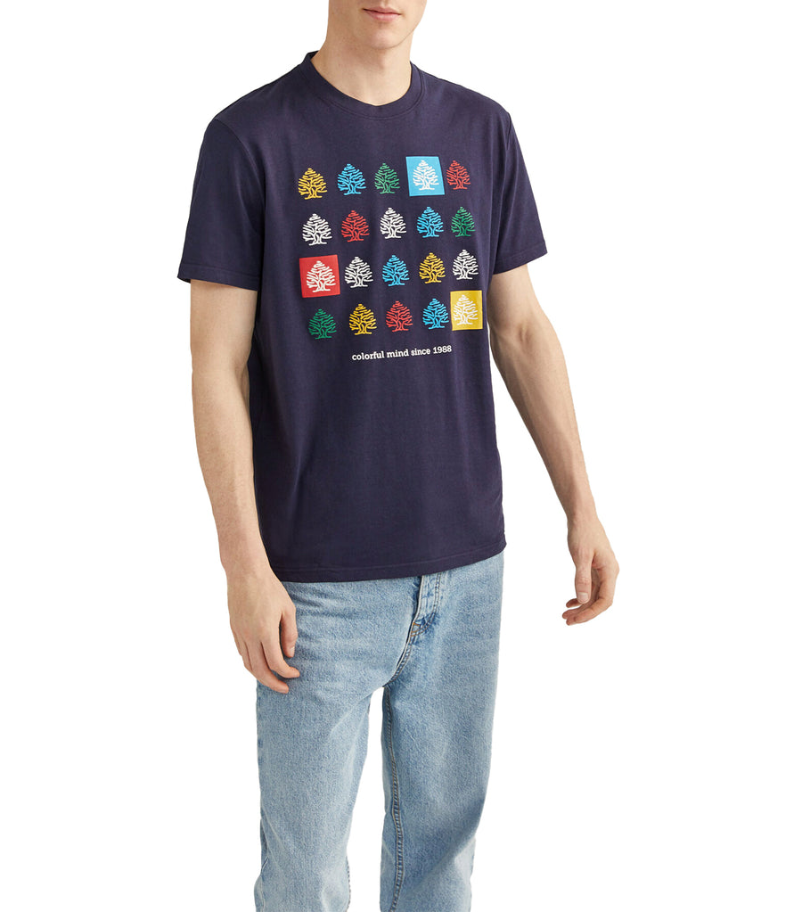 Short-Sleeved Multicolored Tree T-Shirt Blue