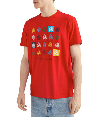 Short-Sleeved Multicolored Tree T-Shirt Red