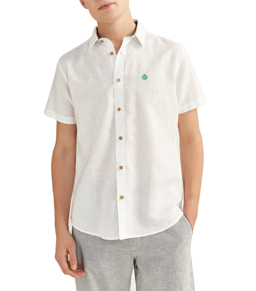 Short-Sleeved Linen Shirt White