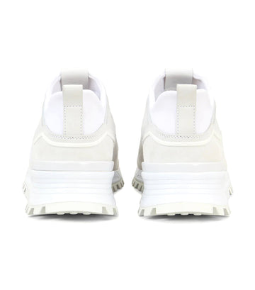 Sneakers in Scuba-Effect Fabric and Suede White