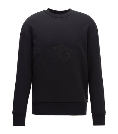 Cotton-Terry Sweatshirt With Tonal Embroidery Black