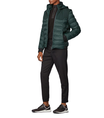 Water-Repellent Down Jacket With Detachable Hood And Sleeves Open Green