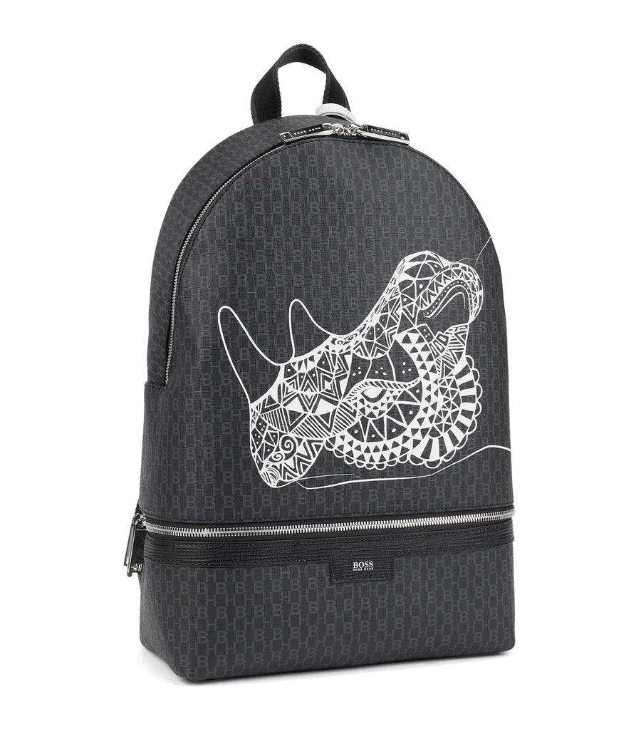 Monogram-Print Backpack In Coated Fabric With Collection Artwork Black