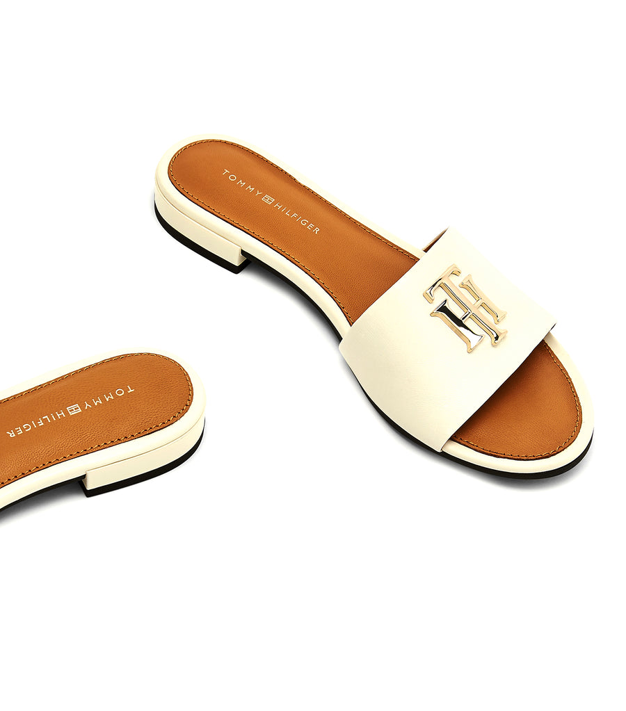 Monogram Hardware Flat Leather Mules Ivory