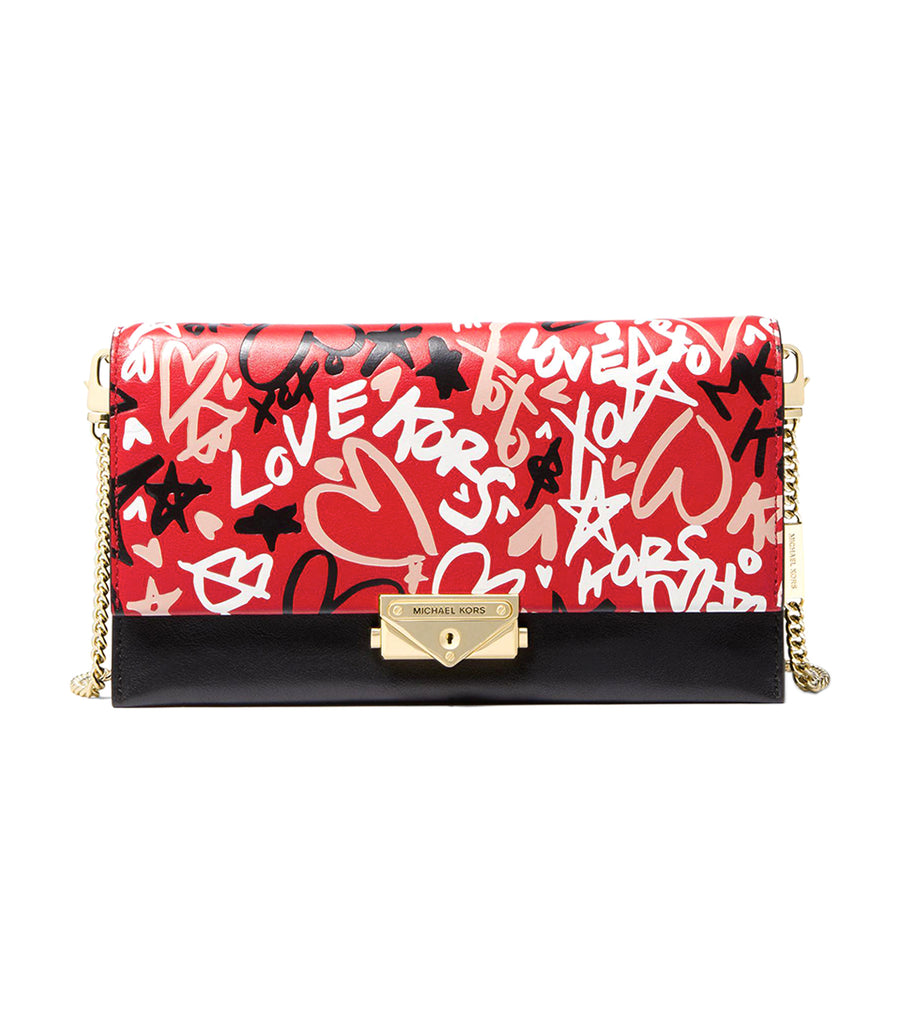 Cece Graffiti Large Leather Crossbody Bag Bright Red Multi