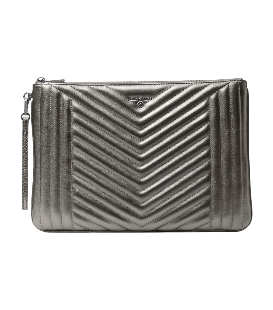 Jet Set Extra-Large Quilted Metallic Leather Pouch Anthracite