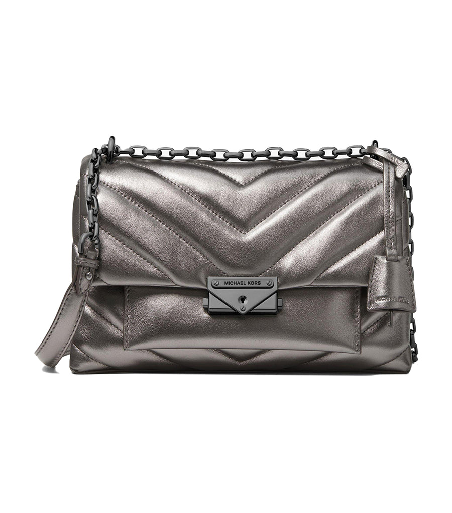 Cece Medium Quilted Metallic Leather Crossbody Bag Anthracite