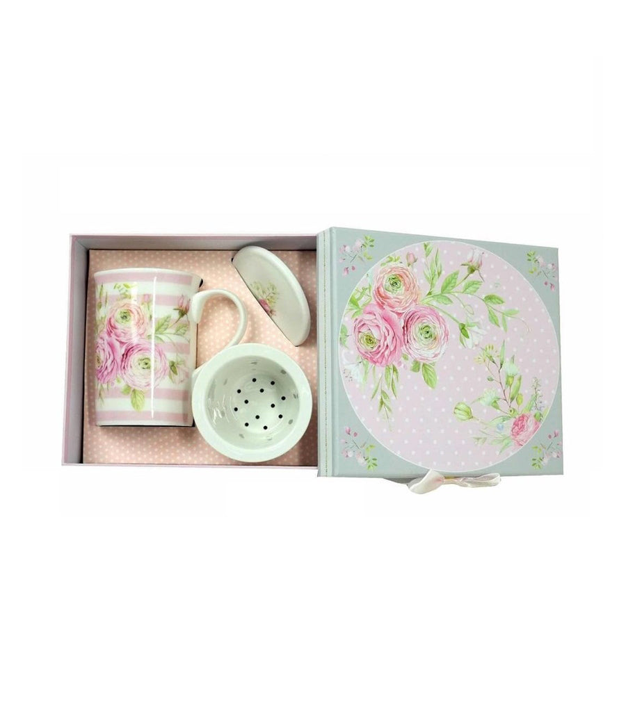 Tea Set with Strainer + Cover in Gift Box - Tea Rose