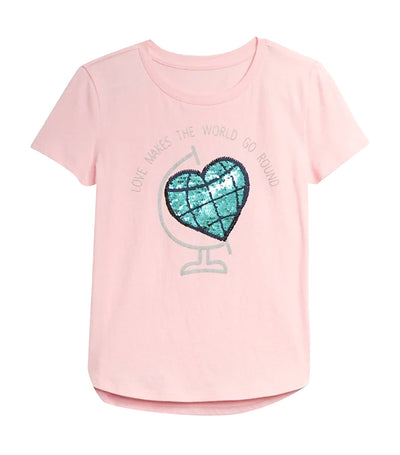 gap kids light shell pink flippy t-shirt