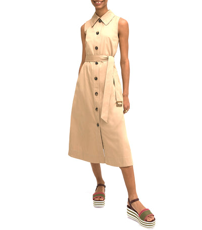 Sleeveless Shirtdress Dark Khaki