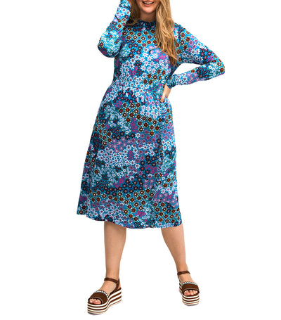 Pacific Petals Knit Dress Aruba Blue