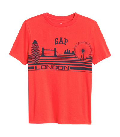 gap kids red hot coral light logo t-shirt