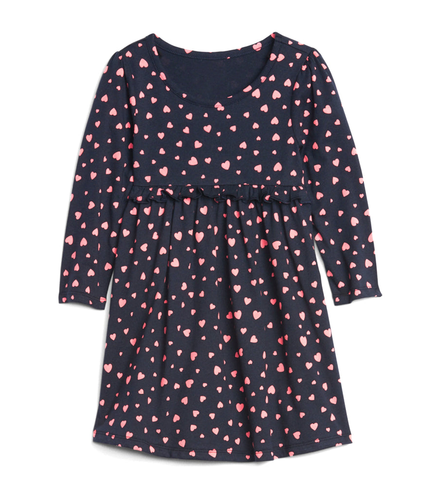 gap kids heart print toddler ruffle waist dress