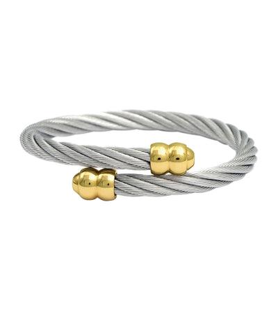 Celtic Double Godrons Bangle Yellow Gold