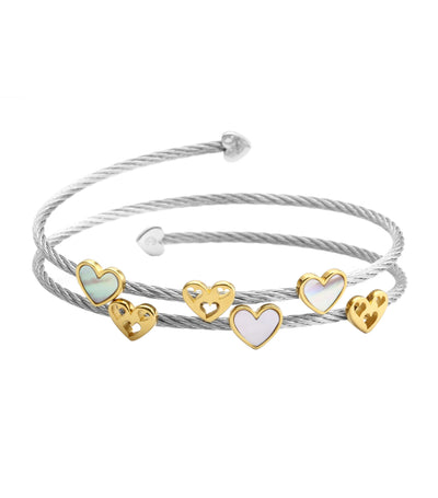 Universal Love Bangle Yellow Gold and Silver