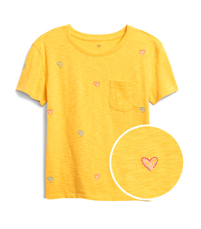 gap kids yellow sundown print pocket t-shirt