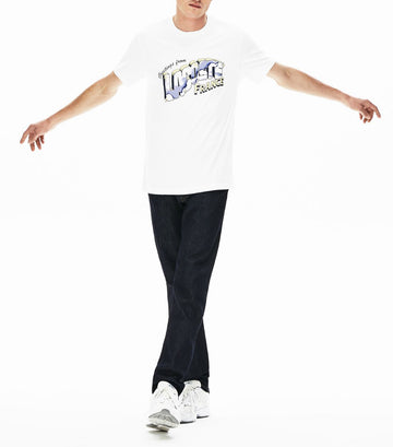 Men's Post Card Print Cotton Crew Neck T-shirt White