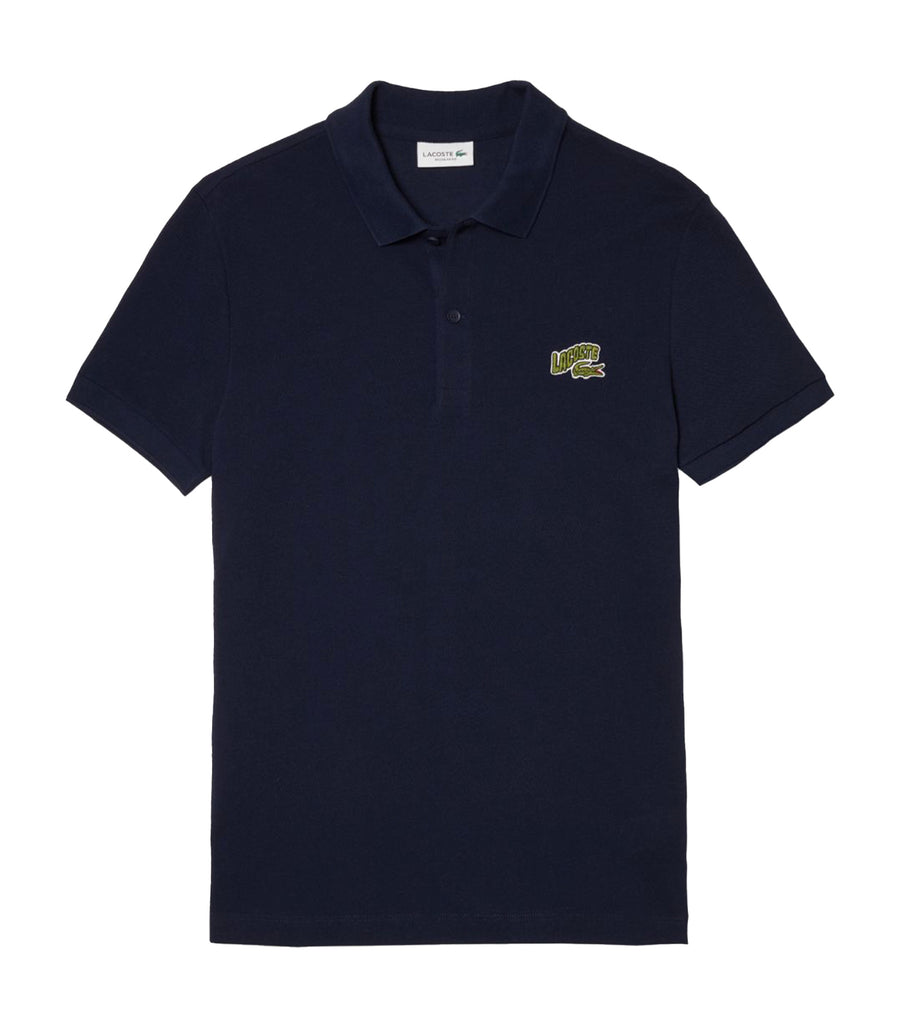 Men's Embroidered Badge Piqué Polo Shirt Navy Blue