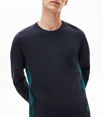 Men's Contrast Side Panel Sweater Dark Navy Blue/Legion Blue