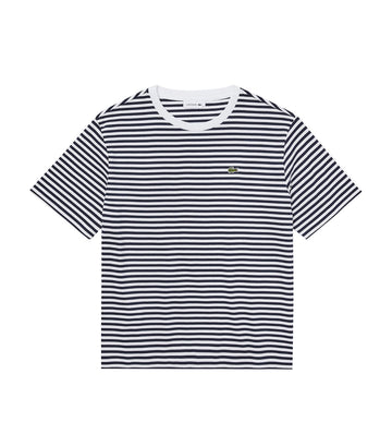 Women's Bicolor Striped Crew Neck T-Shirt Navy Blue/White