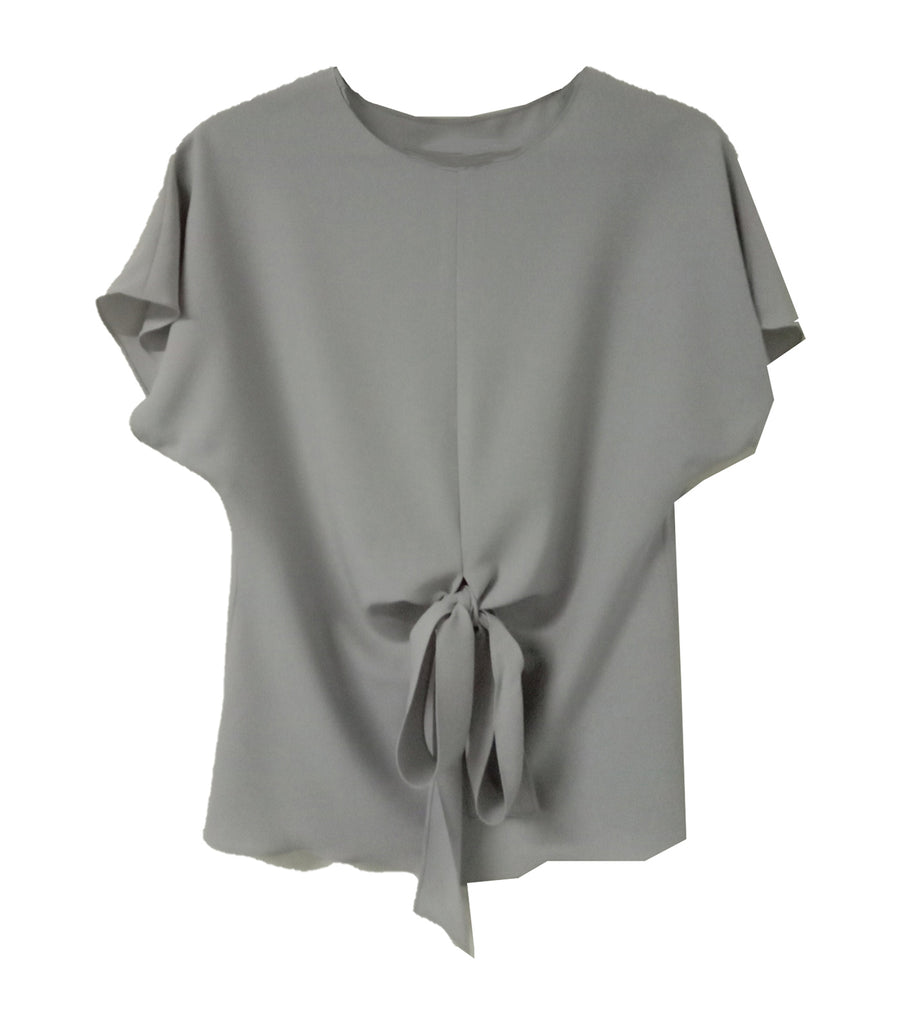 Brissa Short Sleeve Blouse with Tie Front Gray