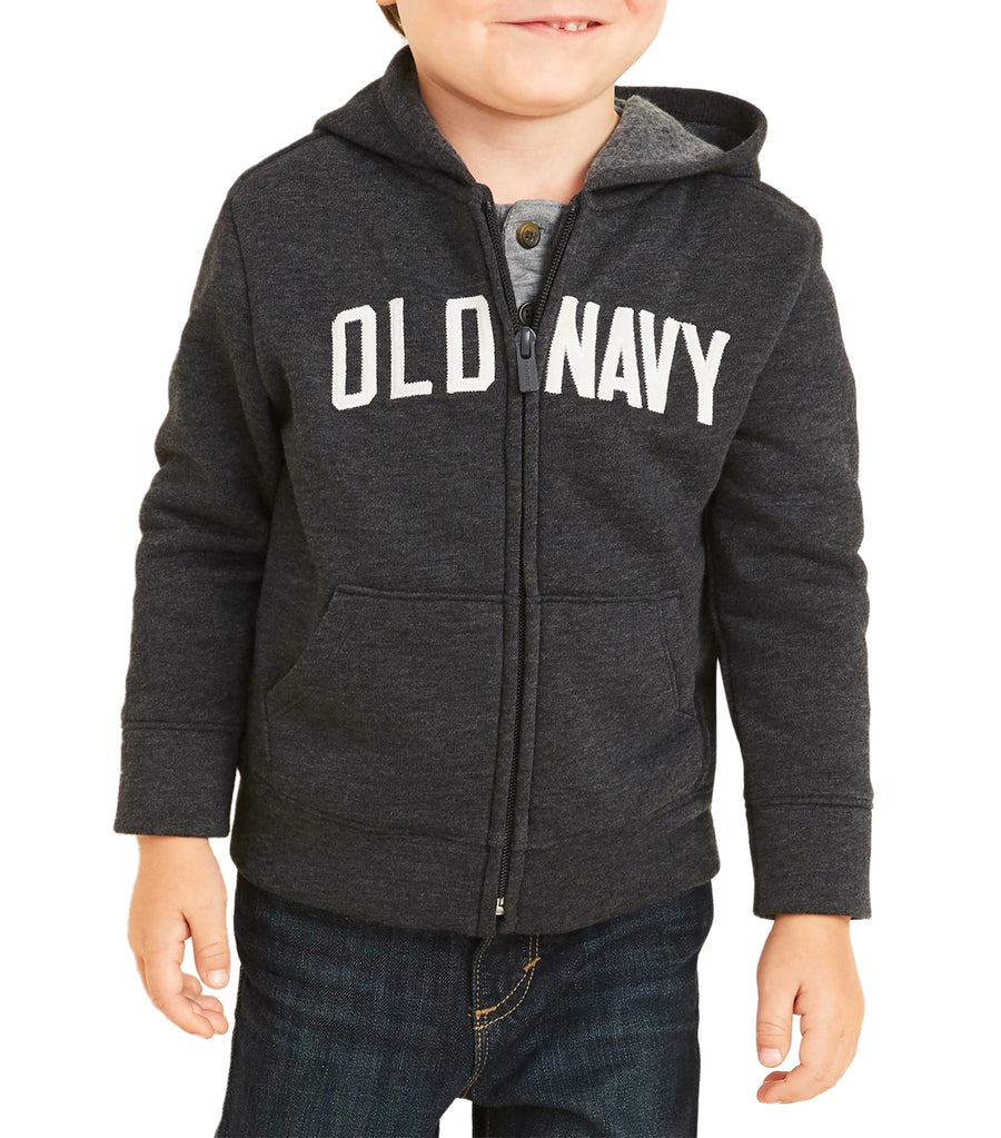 old navy toddler dark charcoal gray unisex logo-graphic zip hoodie