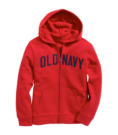 old navy kids red logo-graphic zip hoodie