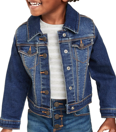 old navy toddler dark wash unisex stretch jean jacket