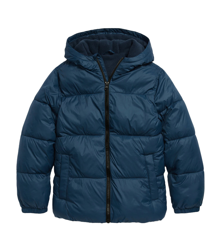 old navy kids frost-free hooded nylon puffer jacket - night cover