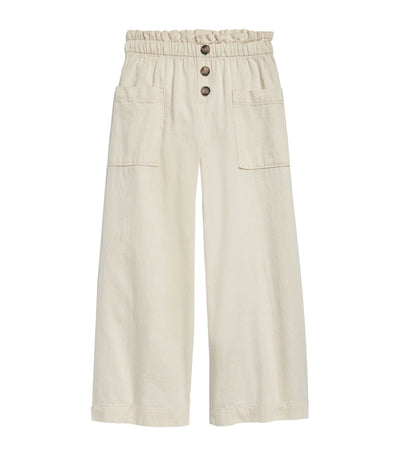 old navy kids ecru accordion-waist wide-leg pants
