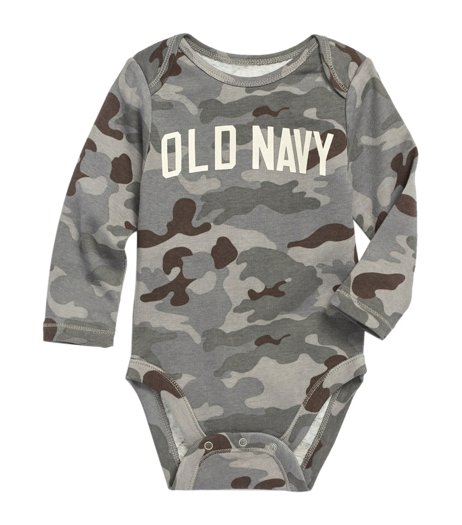 old navy toddler gray camo logo-graphic bodysuit