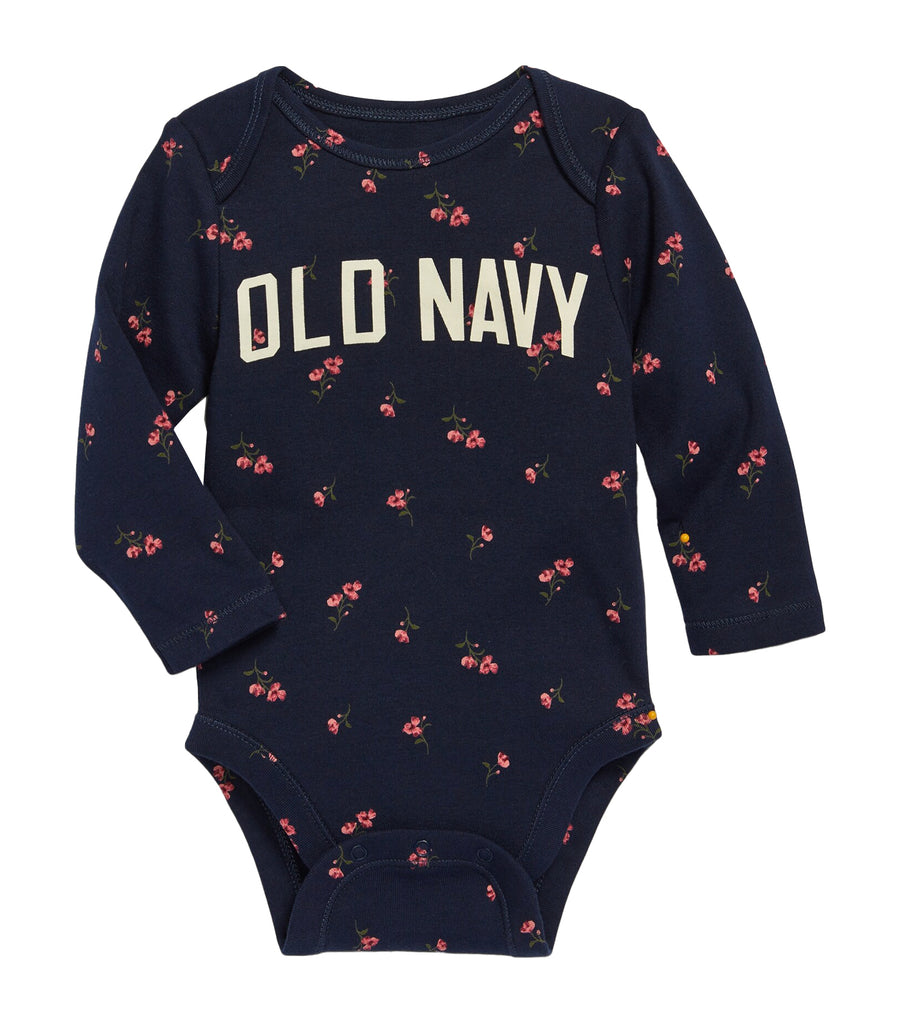 old navy toddler navy floral logo-graphic long-sleeve bodysuit