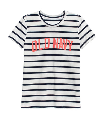 old navy kids on white stripe short-sleeve graphic tee